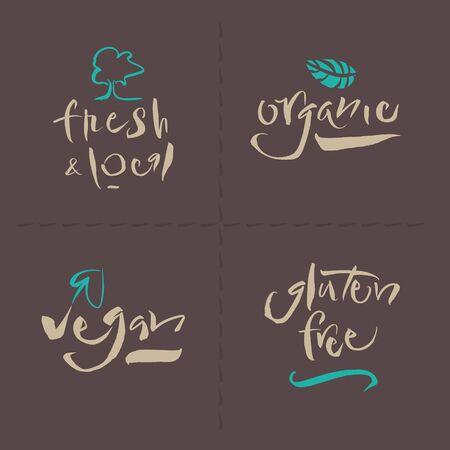 Vegetarian Collection - Organic - Fresh   Local - Gluten Free - Vegan - Illustration and calligraphy   Vector