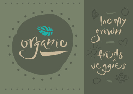 Vegetarian - Organic - Illustration and calligraphy  Vector