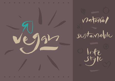 Vegetarian - Vegan - Illustration and calligraphy   Vector