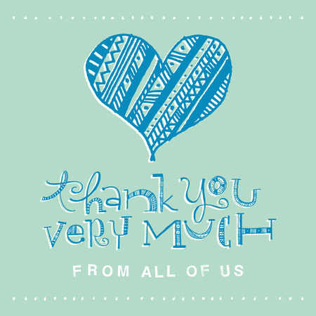 Thank you very much from all of us design card.  Color full hand drawn letters written with a marker   Vector