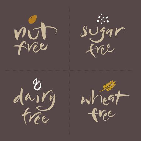 unhealthy: Escrito a mano logos vector de la etiqueta de alimentos poco saludables o alerg�nicos establecen Nut, sin az�car, libre de l�cteos, trigo libre
