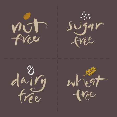 allergenic: Hand written unhealthy or allergenic food vector label logos set  Nut free, Sugar free, Dairy free, Wheat free