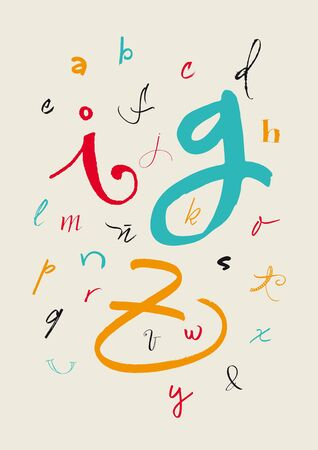 Vector alphabet  Color full hand drawn letters written with a brush, marker, nib and pencil  Vector