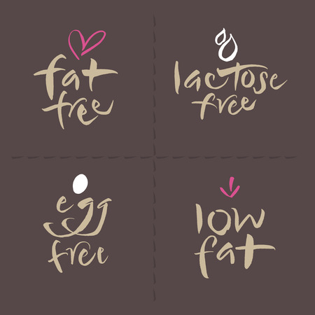 low fat: Hand written unhealthy or allergenic food vector label logos set  Fat free, Lactose free, Low fat