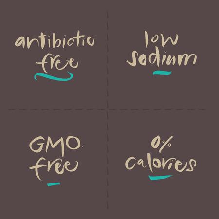 low calories: Hand written food vector labels set  Antibiotic free, Low sodium, GMO free, 0 Calories