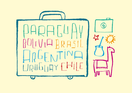 uruguay: Traveling to South America  A variety of hand-drawn doodled text and illustrations Illustration