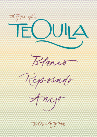 hand written: Hand written types of tequila  EPS Vector file  Background elements in separate layers  Hi res JPEG included
