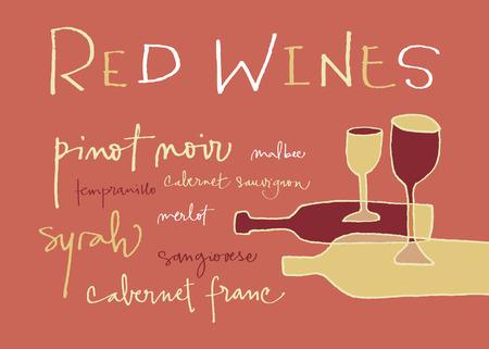 wines: Red wines varieties  EPS vector file  Hi res JPEG included  Illustration