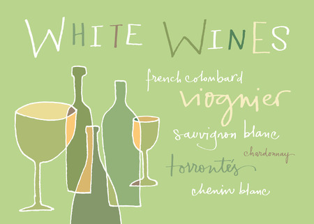 wines: White wines varieties  EPS vector file  Hi res JPEG included