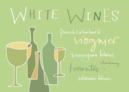 res: White wines varieties  EPS vector file  Hi res JPEG included
