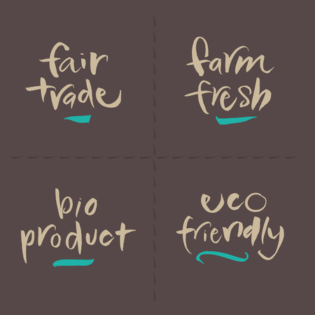 trade fair: Hand written food vector labels set  Fair trade, Farm fresh, Bio product, Eco friendly  Eps and hi-res jpg included