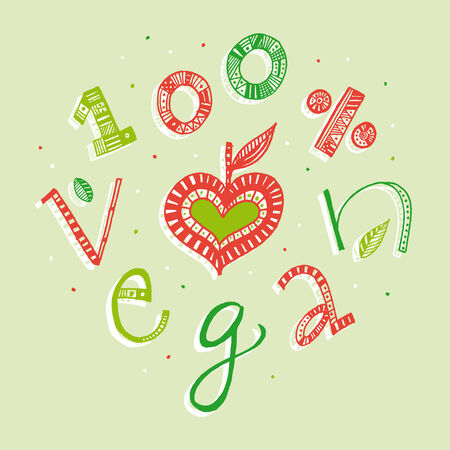 100 percent vegan illustration  Color full hand drawn letters written with a marker  Eps vector file and hi-res jpg included  Vector