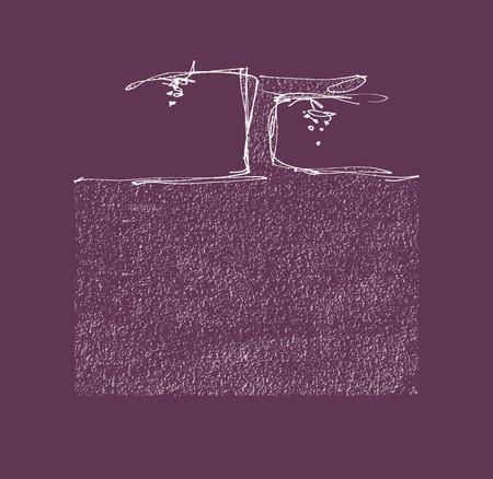 Grapevine de grappes de raisins et tiré fichier vectoriel illustration EPS de vecteur de la main du sol et Salut de JPEG inclus