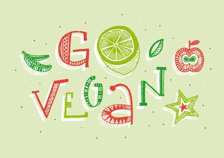 Go vegan illustration  Color full hand drawn letters written with a marker  Eps vector file and hi-res jpg included  Vector