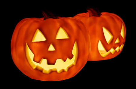 angry vegetable: Glowing Pumpkins for Halloween Stock Photo