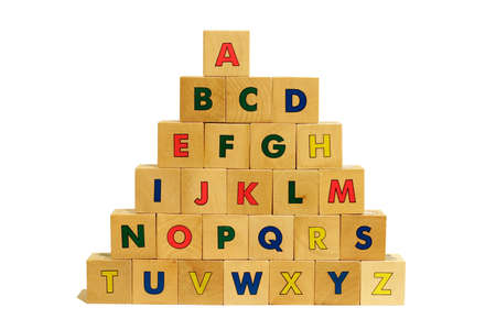 ABC Pyramid made with Wood Cubes isolated on white background photo