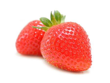 Organic Strawberries isolated on white background Stock Photo