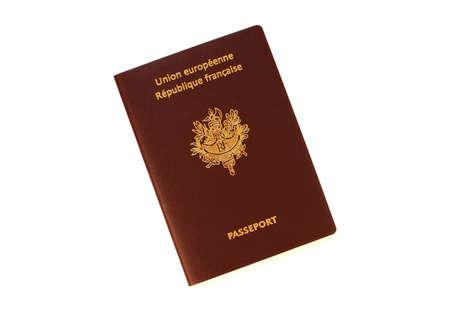 passeport: Passeport fran�ais isol� sur fond blanc Banque d'images
