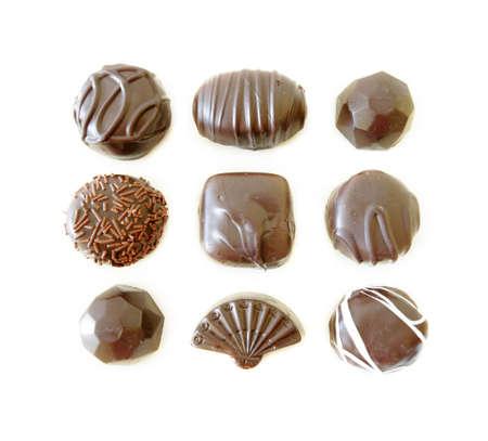 Dark Chocolates Assortment isolated on white background