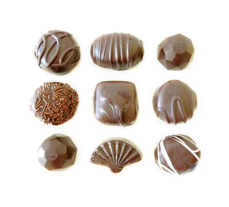 Dark Chocolates Assortment isolated on white background