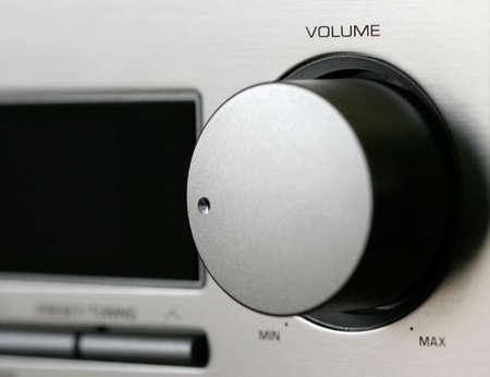 receiver: Volume button on silver receiver Stock Photo