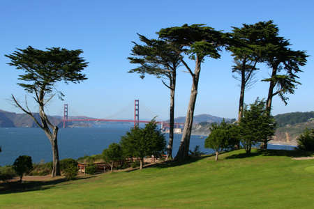 suspension bridge: From Presidio Gold Course, San Francisco, California