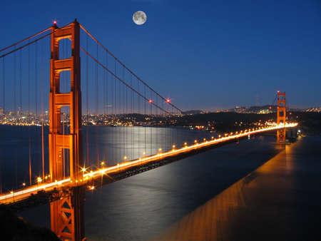 マリン郡、カリフォルニア州からの月の光で 写真素材