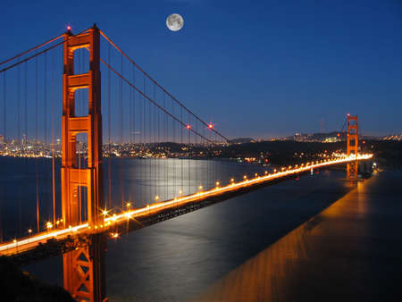 suspension bridge: At Moon Light, from Marin County, California