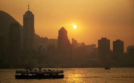 Hong Kong Harbor at Sunset photo