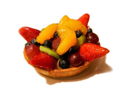 Yummy fruit tart isolated on white background Stok Fotoğraf