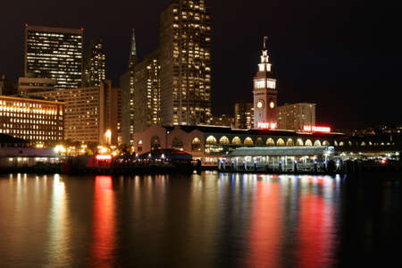 Ferries Building illuminated at night, San Francisco, California