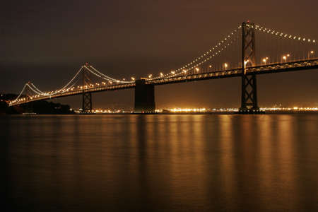 Bay Bridge illuminated at night, San Francisco, California Stock Photo - 747329