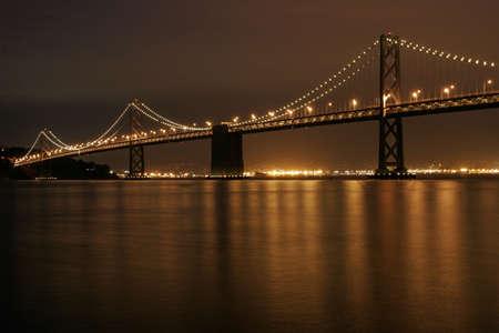 night scenery: Bay Bridge illuminated at night, San Francisco, California Stock Photo