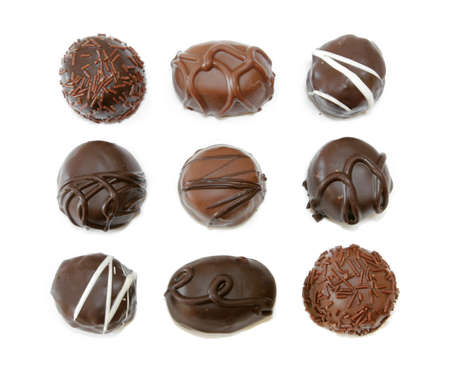 Chocolate Assortment isolated on white background photo