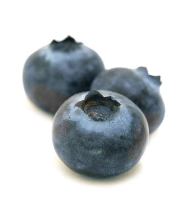 Organic Blueberries trio isolated on white background