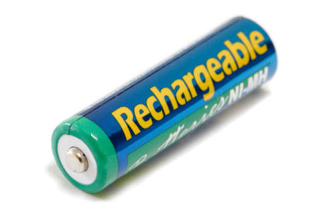 Rechargeable NiMH AA Battery Isolated On White Background Stock Photo