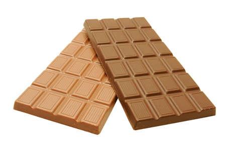 Organic Dark and Milk Chocolate Bar isolated on white background Stock Photo - 747282