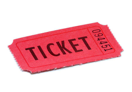 Red Ticket isolated on white background Stok Fotoğraf