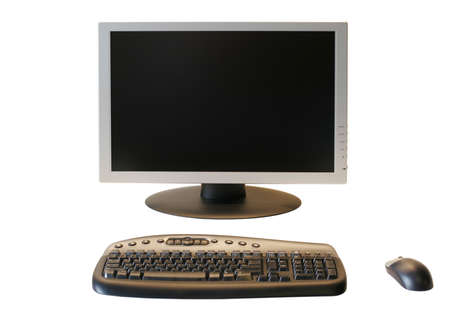 Wide Screen LCD Monitor with wireless keyboard and mouse isolated on white background
