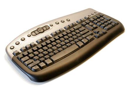 teclado num�rico: Teclado de computadora sin hilos ergon�mico aislado en el fondo blanco