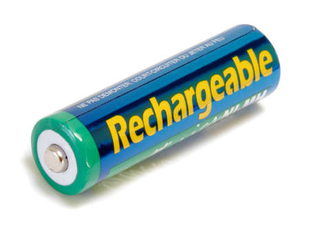 Rechargeable AA Battery isolated on white background Stock Photo