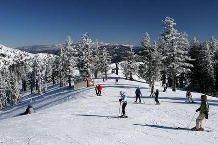 sierras: Ski resort with fresh snow in the Sierras Stock Photo