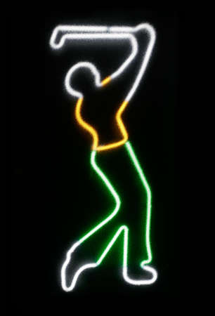 Neon of Golfer from the 60s as seen from a translucent glass