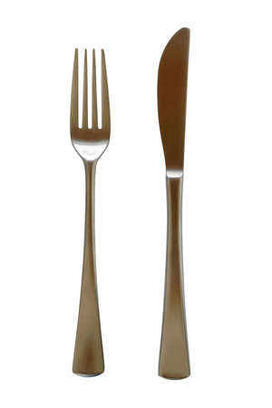 Fork And knife in stainless steel isolated on pure white background Stock Photo