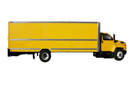 Moving Yellow Truck isolated on pure white background Stock Photo