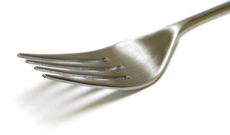 shallow: Stainless Steel Fork close up with shallow DOF isolated on white background