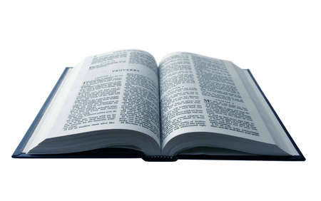 Opened Bible isolated on pure white background Stock Photo