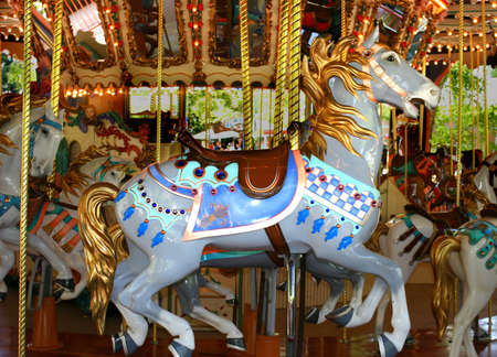 Antique Carousel with colorful horses