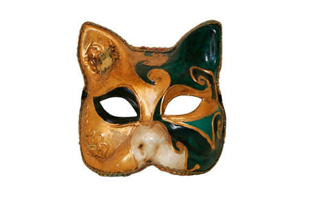 Vintage Venetian mask isolated on pure white background photo
