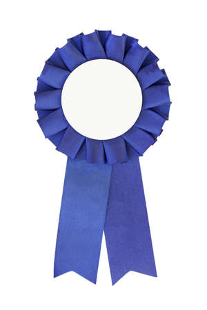 rankings: Blue Ribbon close-up isolated on pure white background Stock Photo